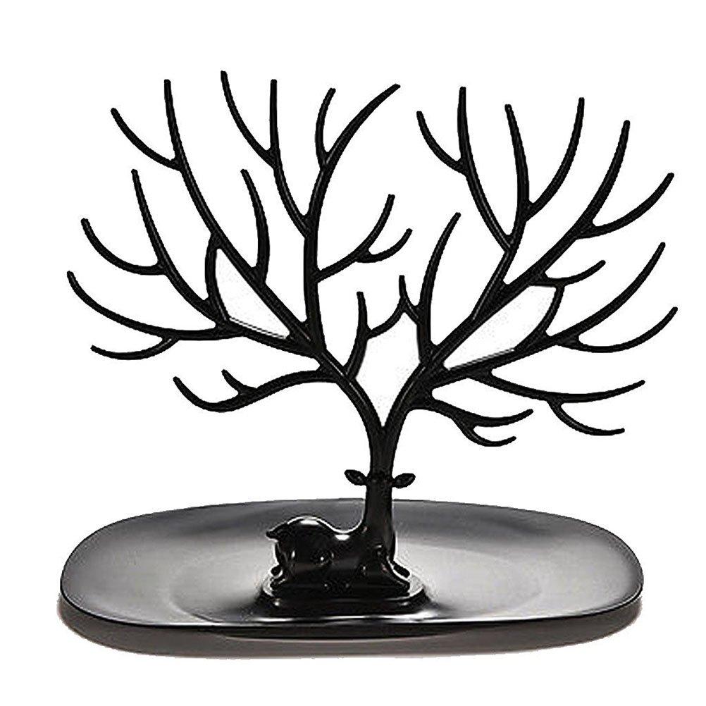 Pixnor Bracciale titolare gioielli collana cremagliera per uso domestico materiale ABS cervi albero (nero)