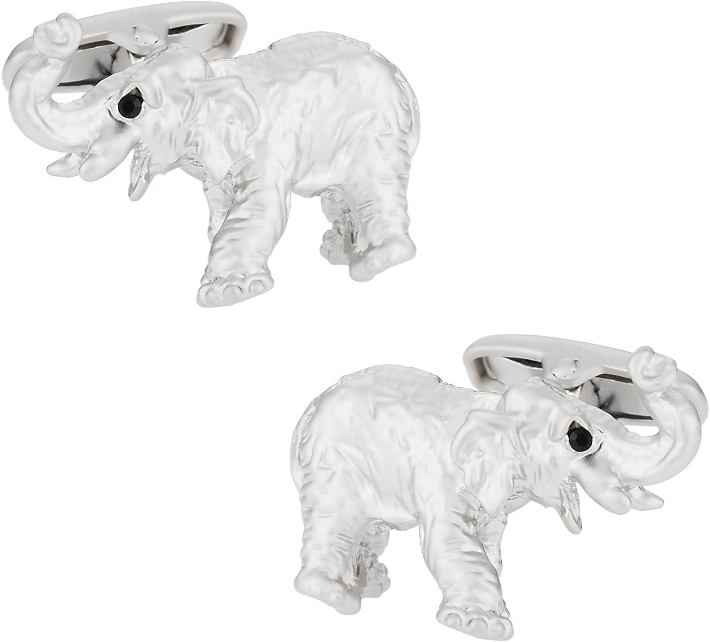 Cuff-Daddy Silver Elephant Cufflinks with Presentation Box