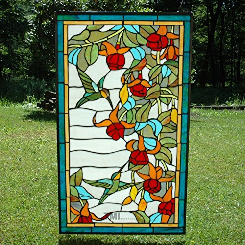 20'' X 34'' Large Tiffany Style Stained Glass Window Panel Hummingbirds & Flower by Stain Glass Panel