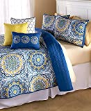 Purple and Gold Bedding Set Madison Park Tangiers Full/Queen Size Quilt Bedding Set - Blue Yellow, Medallion – 6 Piece Bedding Quilt Coverlets – Ultra Soft Microfiber Bed Quilts Quilted Coverlet