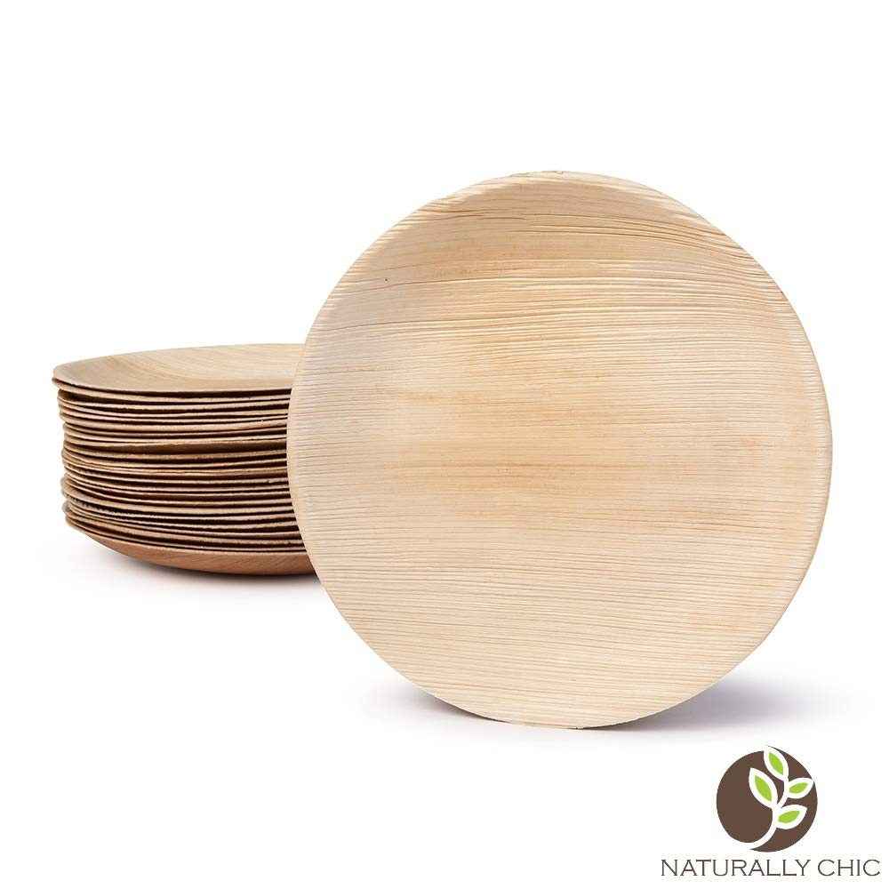 """Naturally Chic Palm Leaf Compostable Plates Plates for Weddings BBQs Parties 25 Pack Events Eco Friendly 10/"""" Oval Biodegradable Disposable Small Dinnerware Bulk Set"""
