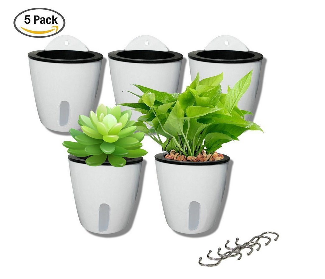 5 Pack Visible Water Level Lazy Flower pots Water Plants Pots Self Watering Planter Hanging Planters,Succulent Plants and Small Flower pots Indoor Out Flowerpot with 5 Metal Hooks (White) by DODXIAOBEUL