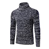 YanCui@ Men's Daily Casual Autumn Winter Fashion High Collar Sweater ,Navy Blue,L