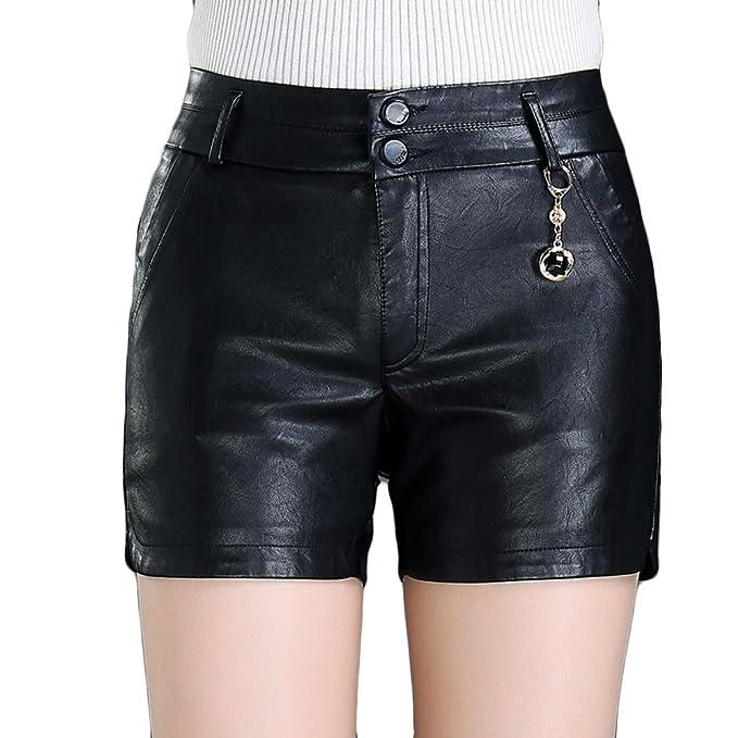 69f100bbc1 HAHAEMMA Pantaloncini Corti da Donna Autunno Inverno in Ecopelle Pantaloni  Corti a Vita Alta