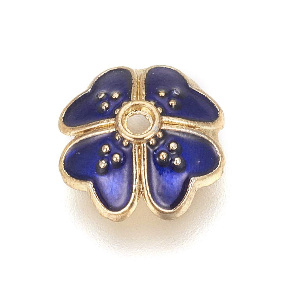 PH PandaHall 100pc Blue Four-Leaf Clover Alloy Enamel Beads Caps 9mm Golden Flower Beads for Jewelry Making, Hole: 1mm by PH PandaHall