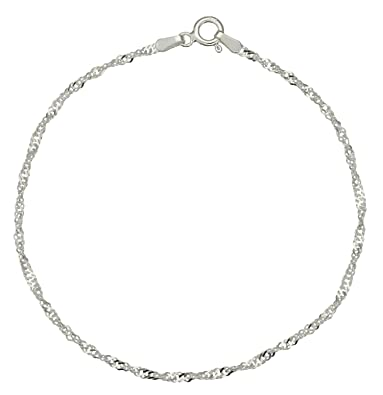 Adara Silver Fine Twisted Curb Chain Bracelet of Length 18 cm