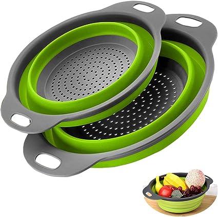 Coladores Cocina, 2 Tamaños Cocina Plegable Colador de Silicona, Accesorios Cocina para Camping para drenar pasta, patatas, broccoli, judías verdes y ...