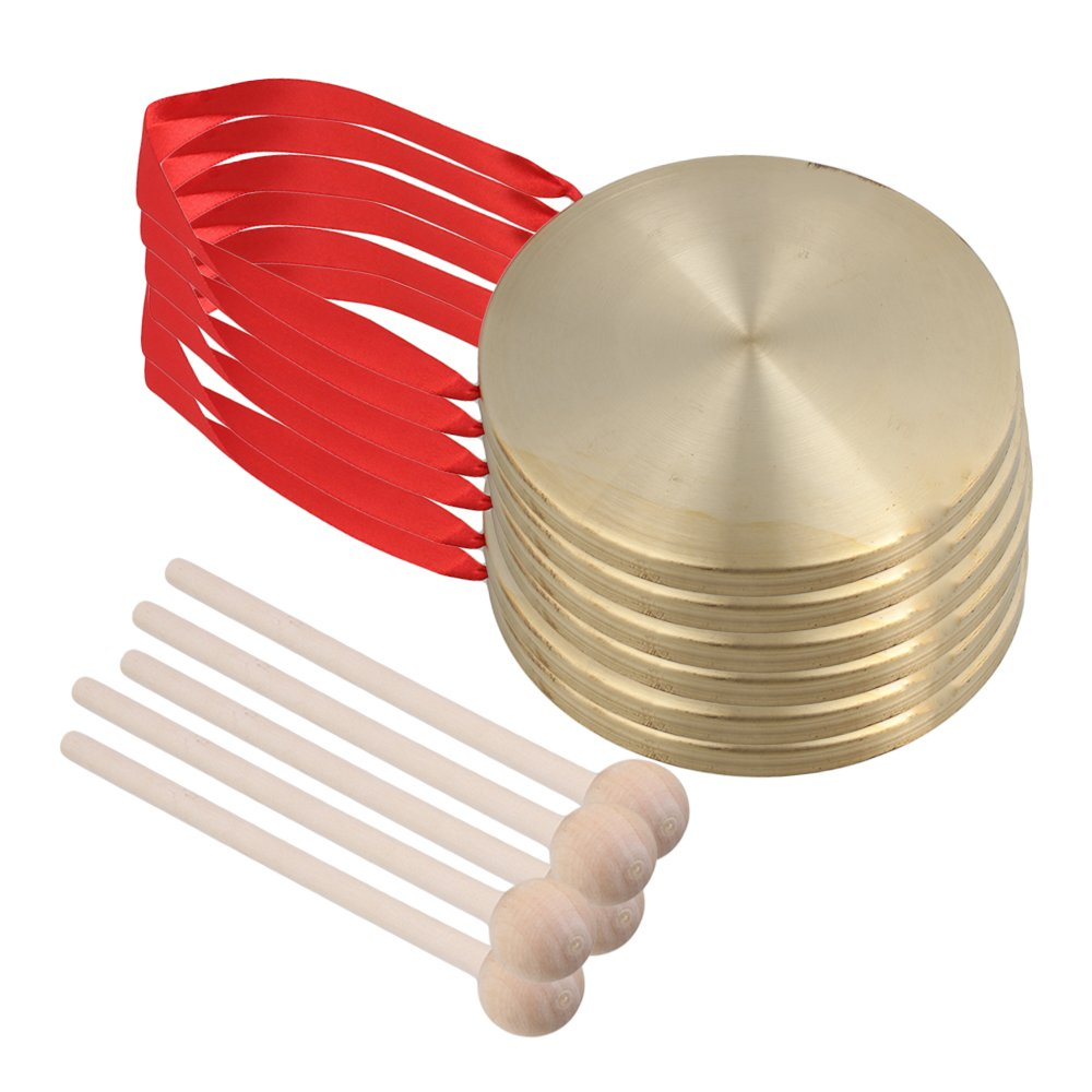 Mxfans 5 PCS Chinese Opera Gong Cymbals Dia 15cm with Wooden Round Play Hammer
