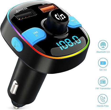 Auto Wireless FM Transmitter f/ür Bluetooth-Ger/äte Radio Adapter Transmitter Freisprecheinrichtung mit Dual USB Ladeger/ät Bluetooth FM Transmitter Auto
