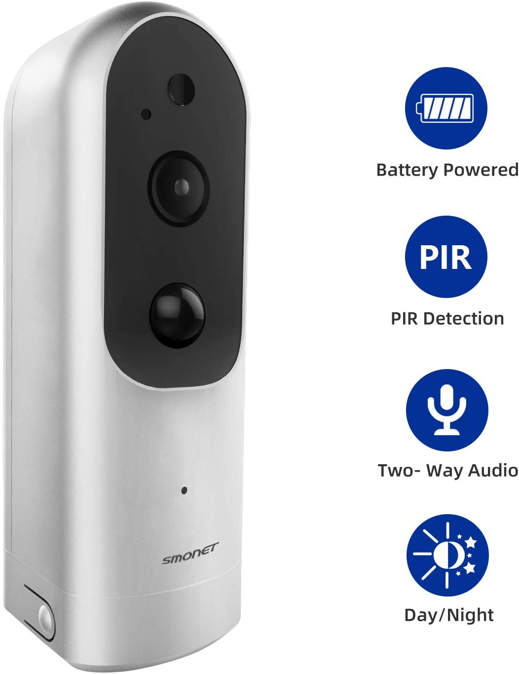 1080P Wire-Free Surveillance Camera, SMONET Rechargeable Battery-Powered Home Security IP Camera with 2-Way Audio, IR-Cut Night Vision, PIR Alarm, Used for Baby Pet, Support Micro SD Card