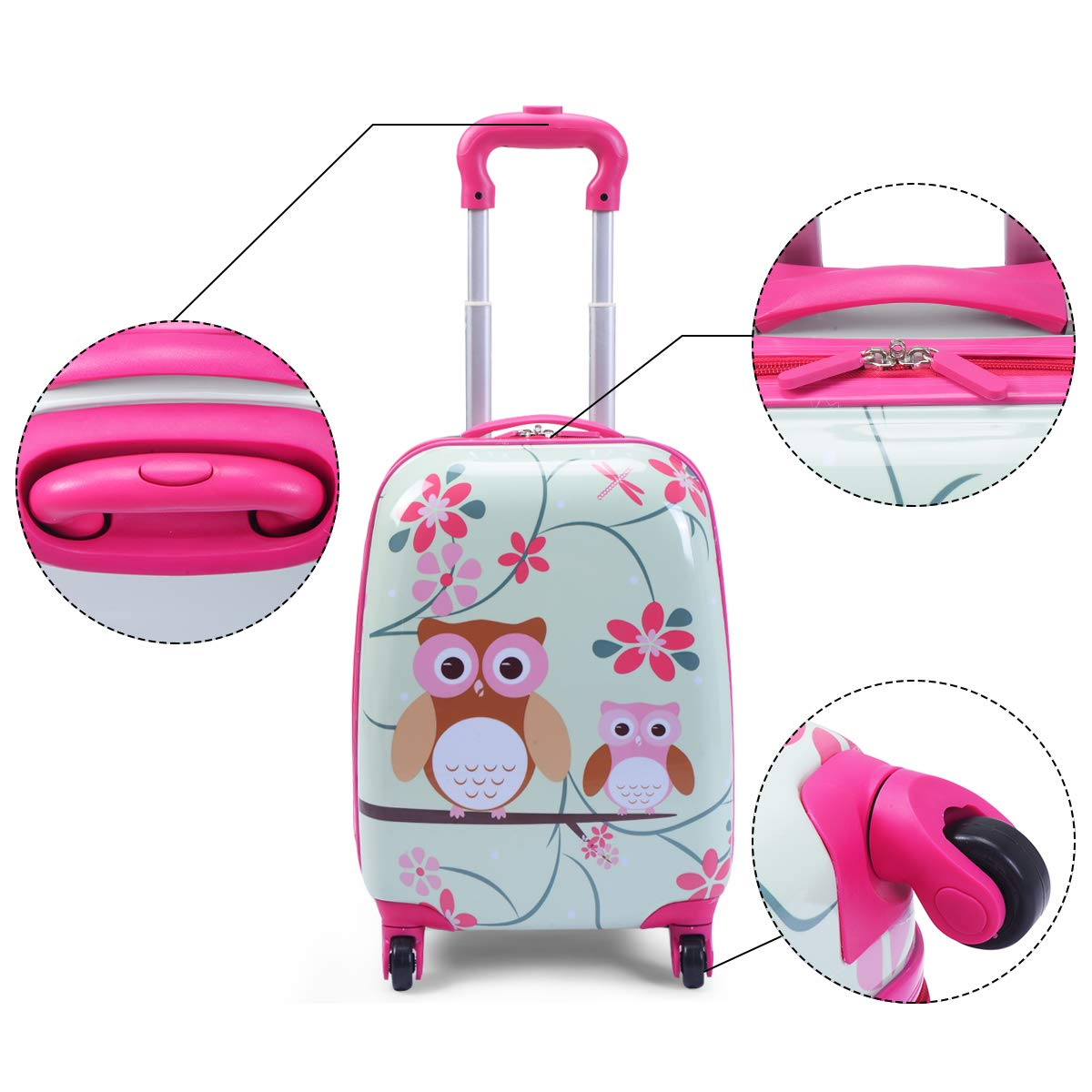 Goplus 2Pc 12 16 Kids Carry On Luggage Set Upright Hard Side Hard Shell Suitcase Travel Trolley ABS