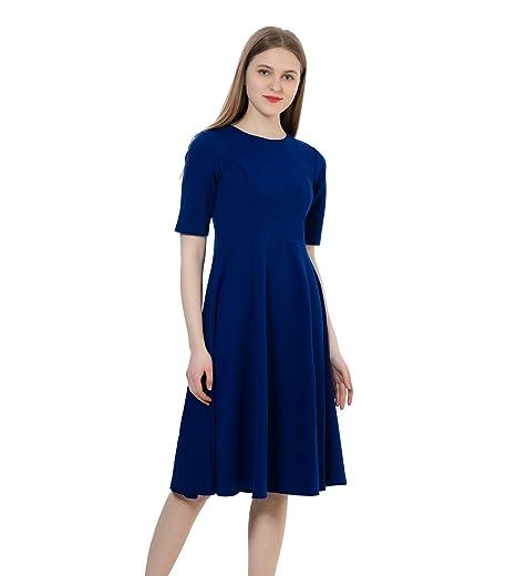 Dantiya Womens Half Sleeve Elegant Back Zipper A Line Knee Long