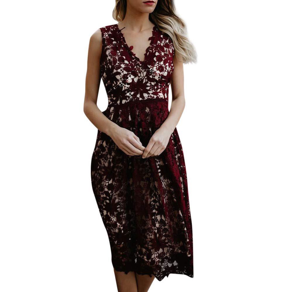 Ulanda Womens Vintage Dresses, Solid V-Neck Lace Stitching Zipper Evening Party Long Dress