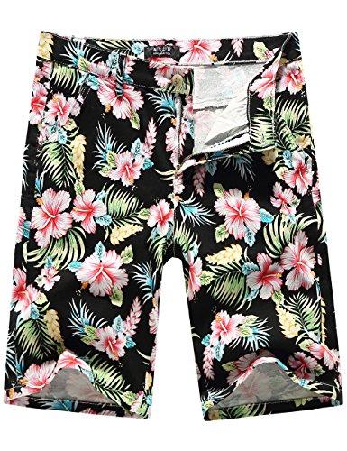 SSLR Mens Mid Rise Flat Front Casual Aloha Hawaiian Short