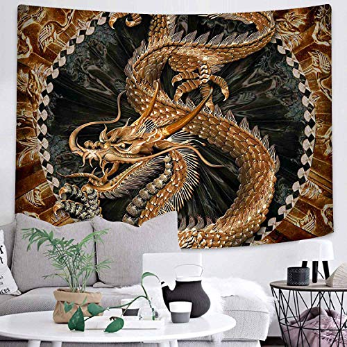 DBLLF Dragon Wall Hanging Tapestry Bohemian Tapestry Psychedelic Gold Dragon Wall Blanket Chinese Golden Dragon and Cloud Mural for Bedroom Living Room Dorm 80X60 Inches DBLS177