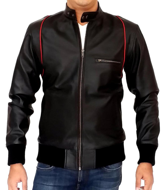 Men Leather Jacket Biker Motorcycle Coat Slim Fit Outwear Jackets AUK064
