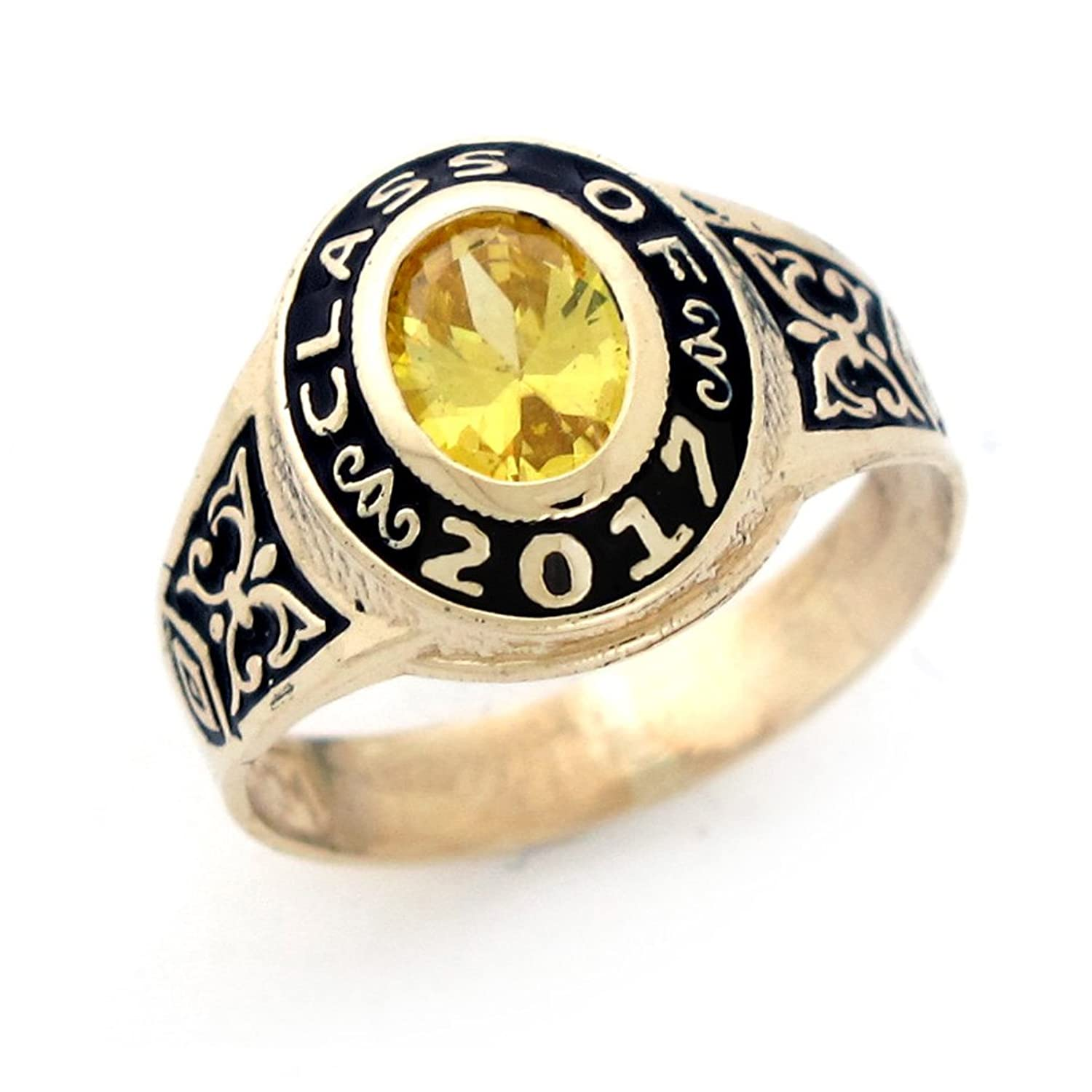 14k Gold Simulated Birthstone 2017 Class Graduation Ring
