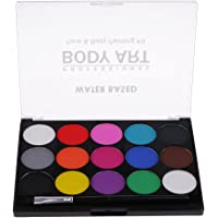 MagiDeal Face Paint 15 Colors Palette Set with Painting Brush Professional Best Quality Painting Kit for Kids & Adults Water Based Set Non-Toxic Fancy Dress Costume Body Painting Art