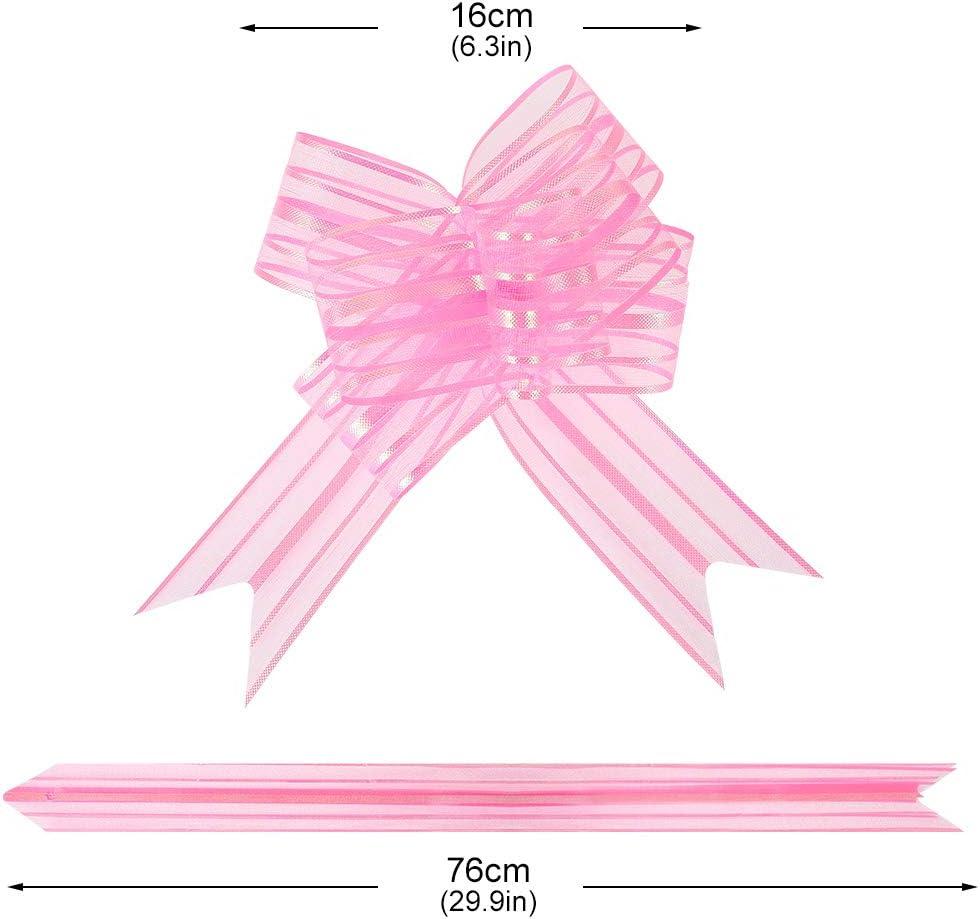 lovingmona Tirer Noeuds 50mm 20 Paquets Grand Organza Tir/é N/œud pour Emballage Cadeau Mariage Voiture D/écoration No/ël Fleur Rose