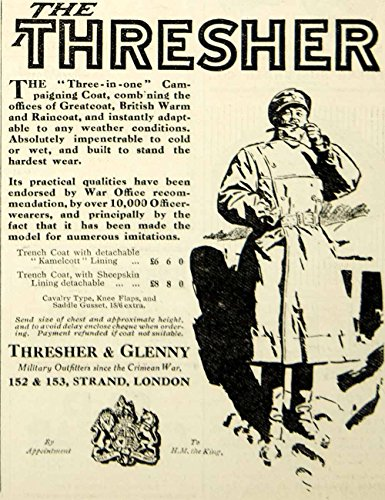 1916-ad-world-war-i-thresher-glenny-military-trench-coat-raincoat-greatcoat-original-print-ad