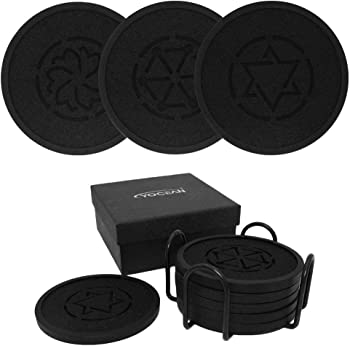 6-Pack Yocean Black Silicone Absorbent Coasters with Holder