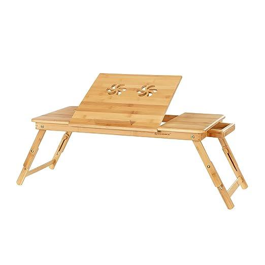 Tavolino Porta Pc Con Ventola Usb E Gambe Allungabili.Songmics Tavolino Pc In Bambu Tavolino Da Letto Pieghevole Per