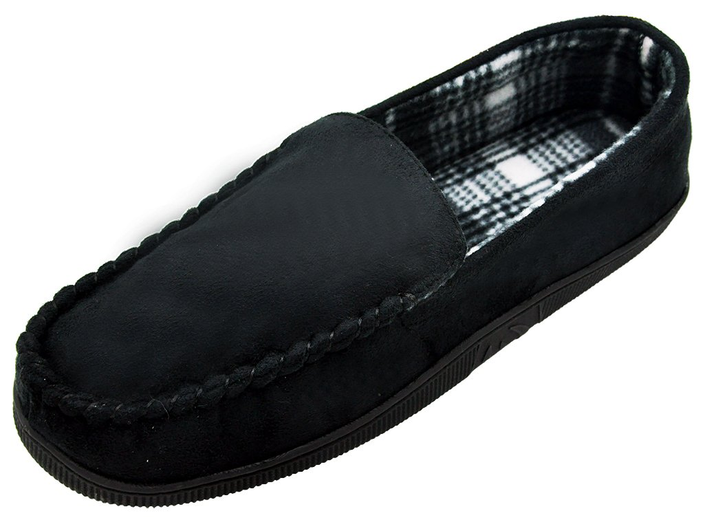 MIXIN Men's Casual Pile Lined Indoor Outdoor Rubber Sole Micro Suede Moccasin Flats Slippers Black Size 9.5-10.5