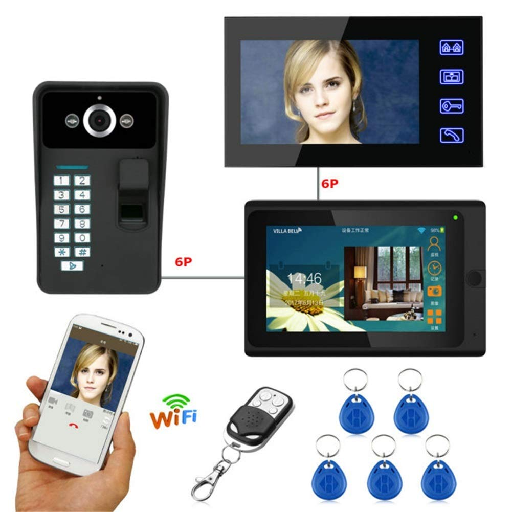 Video Doorbell,7 2 Monitors Wired Wireless WiFi Doorbell Intercom System with Fingerprint RFID