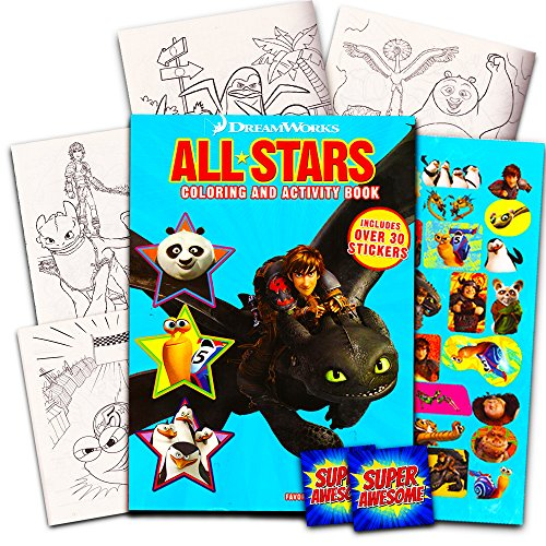 Penguins Of Madagascar Party Supplies (Dreamworks Giant Coloring Book with Stickers -- 144 Pages Featuring Kung Fu Panda, Turbo, Penguins of Madagascar and How to Train Your)