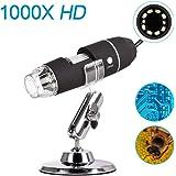 iitrust USB显微镜 数码显微镜 电子显微镜 相机 显微镜 高分辨率 高达1000倍的高倍率 附日语说明书(可能不支持中文) D459-C-BLK