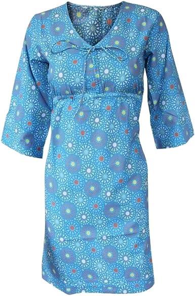 Ex White Stuff Blue Summer Print Tunic Kaftan Beach Dress