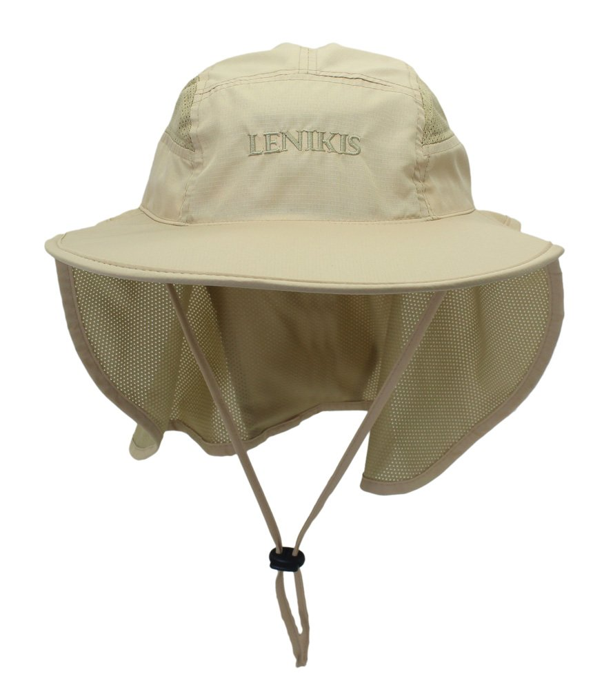 Lenikis Unisex Outdoor Activities UV Protecting Sun Hats with Neck Flap Khaki