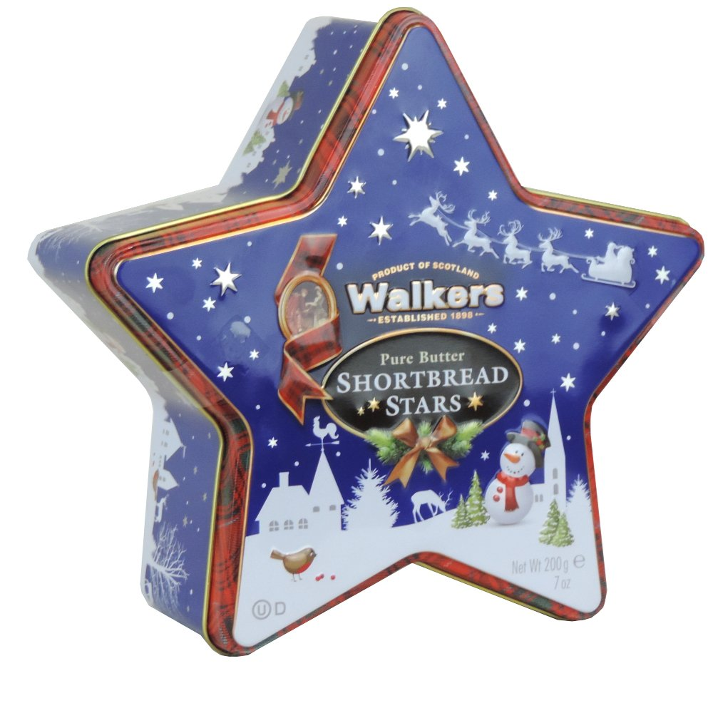 Walkers - Pure Butter Mini Shortbread Stars - Star Tin - 200g (Case of 6)