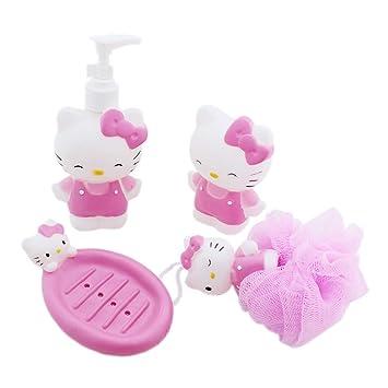 Hello Kitty Kids Bathroom Set Soap Dispenser Dish Loofa Toothbrush