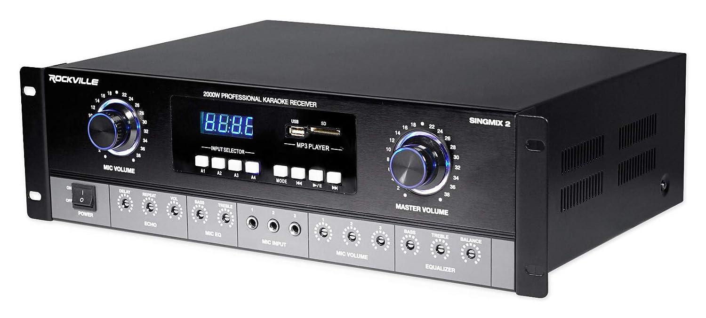 Rockville SingMix 2 Rack Mount 2000w Karaoke Amplifier//Mic Mixer+Bluetooth//Echo