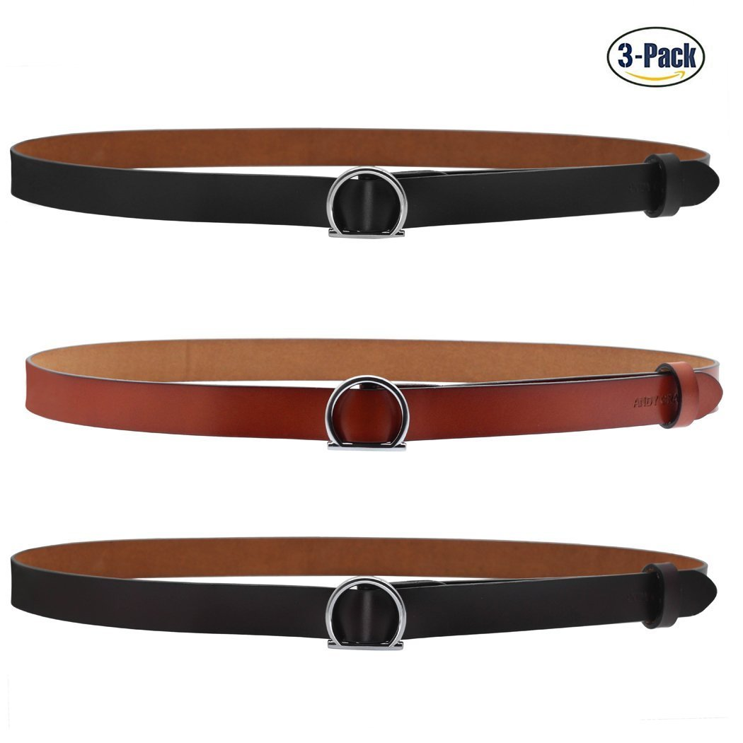 ANDY GRADE Set of 3 Women's Genuine Cowhide Leather Stylish Thin Dress Belt Fashion Vintage Casual Skinny Belts for Jeans Shorts Pants Summer for Women With Alloy Buckle By (Black,Brown,Orange)