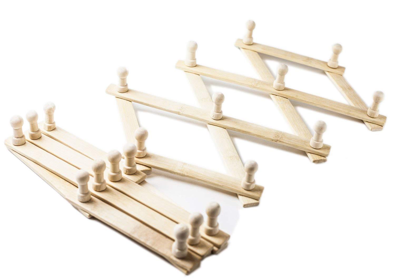 2, Wood Huji Set of Expandable Wall Mount Wood Rack Coat Hat Belt Hanger Organizer with Pegs