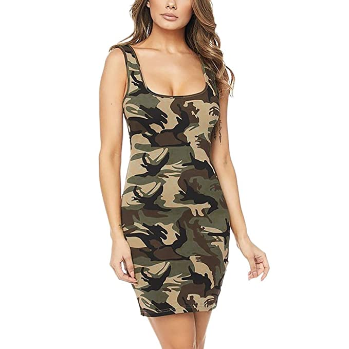 04b62c9b8b Goddessvan Women Summer Sleeveless Camouflage Evening Party Cocktail Beach  Short Mini Dress (S, Army