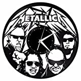 VinylShopUS – Metallica Vinyl Wall Clock Music Bands and Musicians Themed Retro Decor For Sale