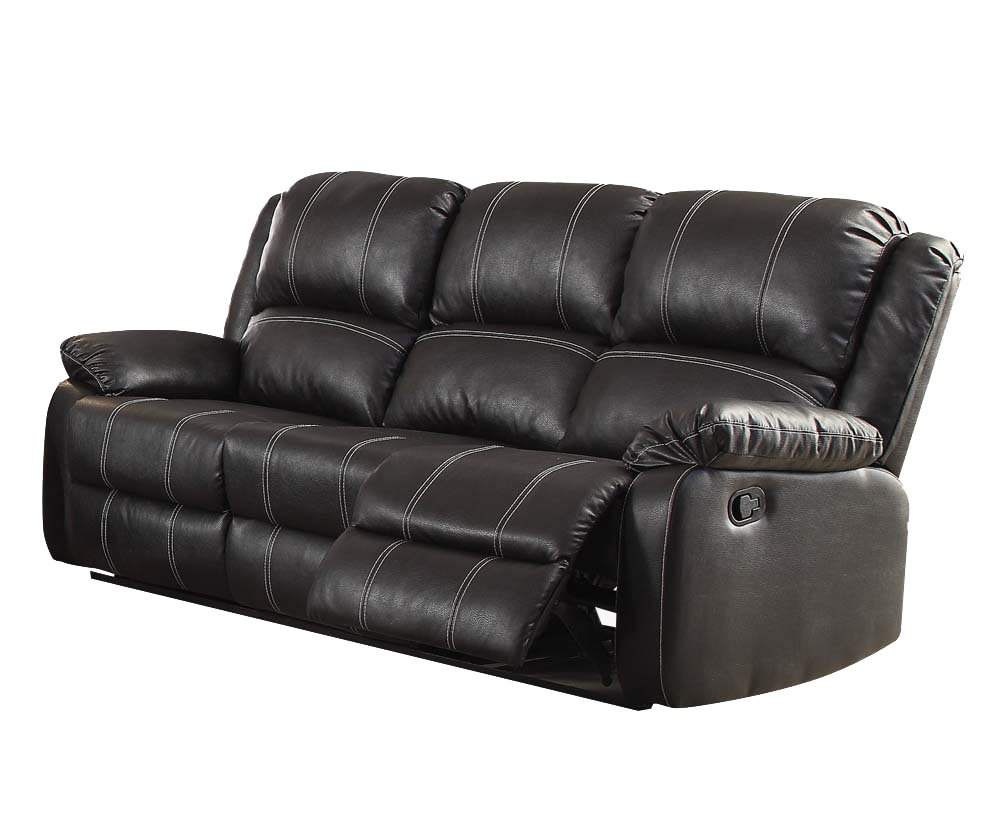 Amazon Com Acme Zuriel Black Faux Leather Reclining Sofa Kitchen