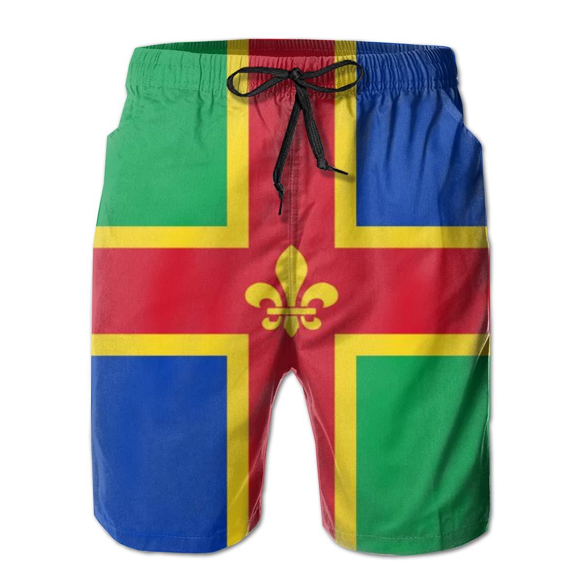Flag of Lincolnshire Mens Quick Dry Beach Board Elastic Waist Shorts