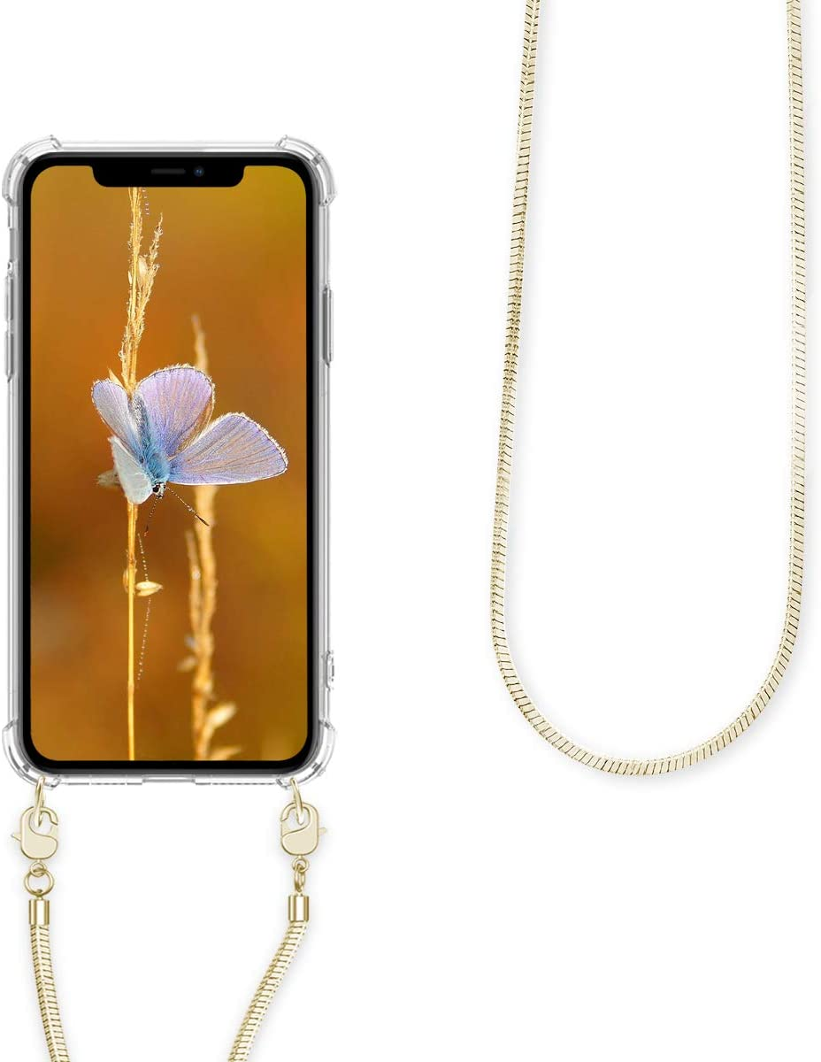 Case con cord/ón de Metal de 120CM kwmobile Funda de Silicona Compatible con Apple iPhone 11 Carcasa TPU Transparente