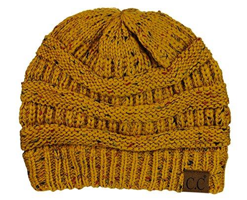 C.C Unisex Colorful Confetti Soft Stretch Cable Knit Beanie Skull Cap - Mustard