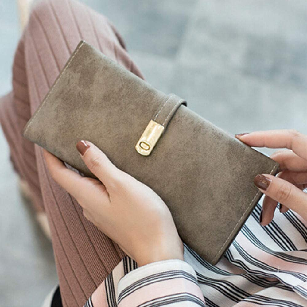 TEEGUI Women Clutch Wallet Elegant Long Leather Card Holder Purse Buckle Bag