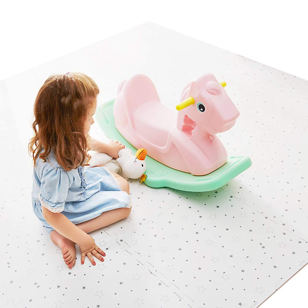 "little dove Baby Floor Mat Interlocking Play Mats for Infant Tummy Time Kids Padded Play mats Non Toxic Thick Floor Mat with Star Pattern(59"" x 39"")"