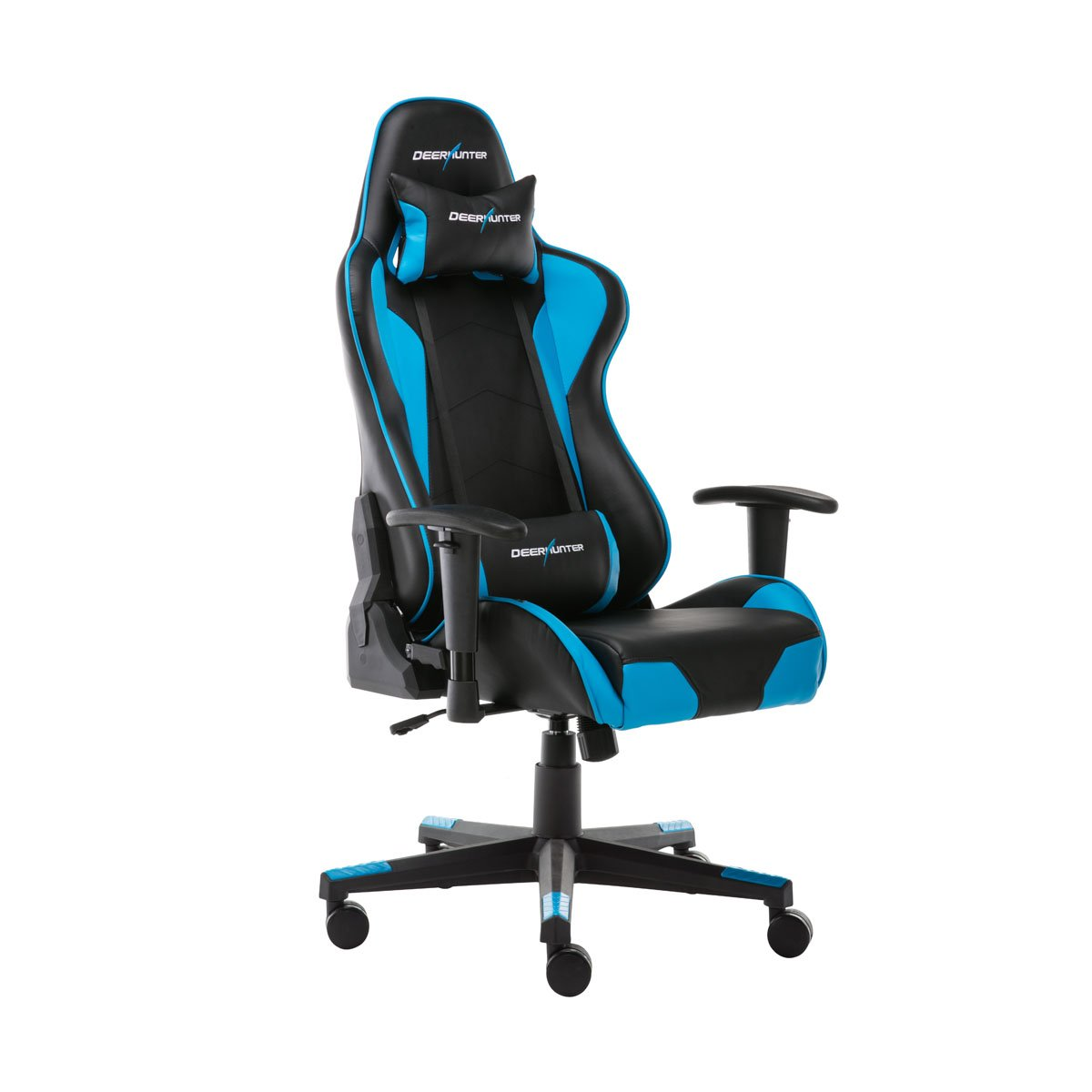 DEERHUNTER Gaming Chair, Swivel Leather Office Chair, High Back Ergonomic Racing Chair, Adjustable Computer Desk Chair with Lumbar Support and Headrest (Blue) by Deerhunter