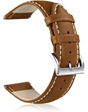 GinCoband Leather Watch Bands,Choice of Width 18mm 20mm 22mm,Genuine Leather Watch Replacementband Strap for Men Women