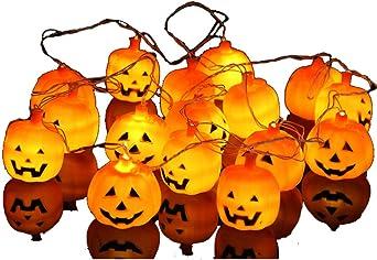 Halloween Deko Outdoor Kurbis Lichterketten 4 Meter 16 Leds Batterie Orange Lichter Party Garten Dekoration Amazon De Beleuchtung