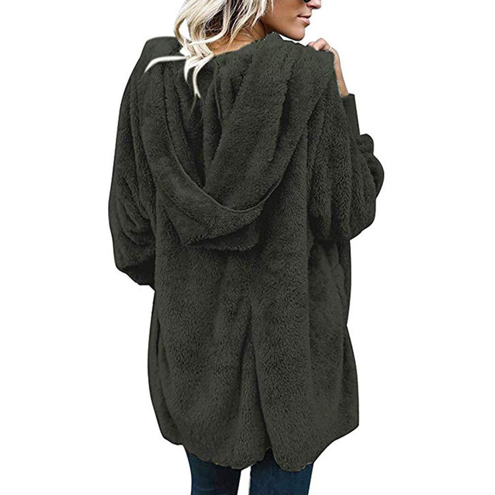 Women Casual Fleece Jacket Hooded Cardigan Pocket Faux Fur Outerwear Coat