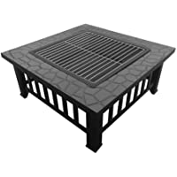 Grillz Outdoor Metal Firepit Backyard Patio Garden Square Stove Fire Pit With Poker